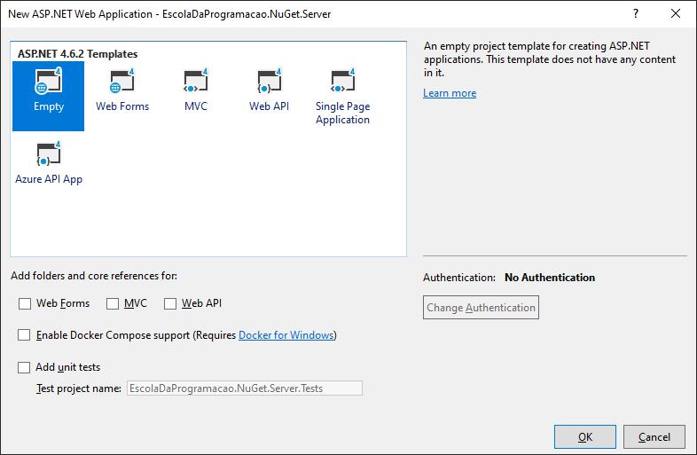 Configuração inicial do novo projeto web do NuGet Server no Visual Studio